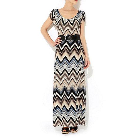 Wallis - Blue chevron belted maxi dress
