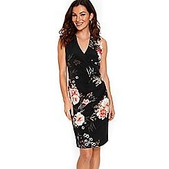 Wallis - Black oriental floral wrap dress