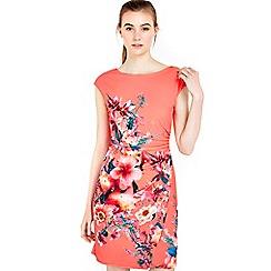Wallis - Coral floral printed wrap dress