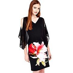 Wallis - Black printed floral overlay dress