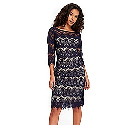 Wallis - Navy scallop lace dress