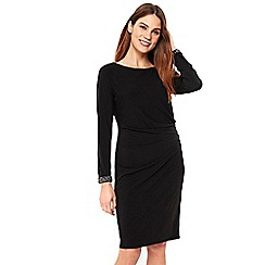 Wallis - Black embellished cuff shift dress