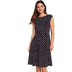 Wallis - Purple polka dot fit and flare dress