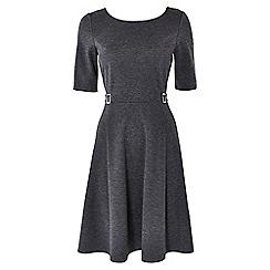 Wallis - Dark grey buckle fit and flare dress