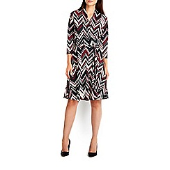 Wallis - Berry zig zag fit and flare dress