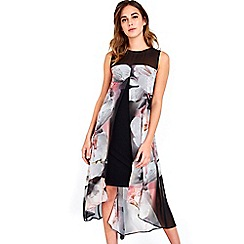 Wallis - Black floral split front dress