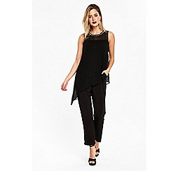 Wallis - Black embellished trim overlayer jumpsuit