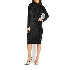 Wallis - Sparkle long sleeve knot side dress