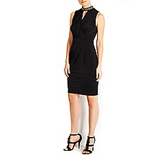 Wallis - Black necklace keyhole drape dress