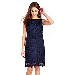 Wallis - Navy floral crochet lace dress
