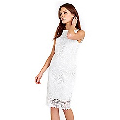 Wallis - Ivory geometric crochet lace dress