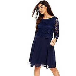 Wallis - Deco lace sleeved fit and flare dress