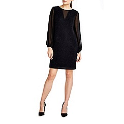 Wallis - Black sparkle blouson sleeve dress
