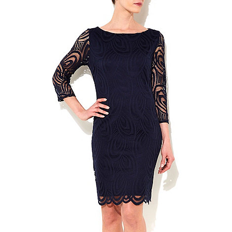 Wallis - Navy blue scalloped lace dress