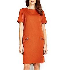 Wallis - Rust slant zip dress