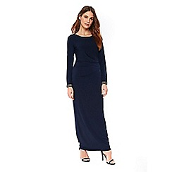 Wallis - Navy embellished cuff maxi dress