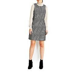 Wallis - Mono jacquard pinny dress