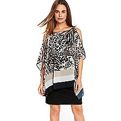 Wallis - Animal stripe over layer dress