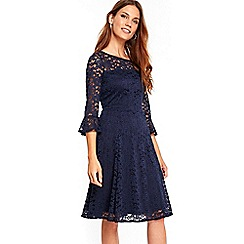 Wallis - Navy flute sleeve lace fit and flare dress