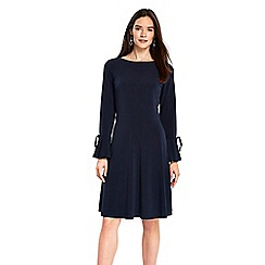 Wallis - Navy tie sleeves fit and flare dress