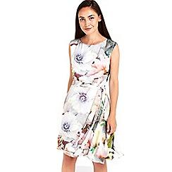 Wallis - Grey floral printed watercolor dress