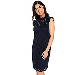 Wallis - Navy ink ruffle lace dress