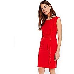Wallis - Coral ruffle detail dress