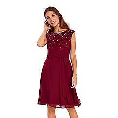 Wallis - Berry embellished fit and flare dress