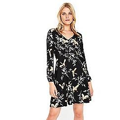 Wallis - Black bird print buttoned dress