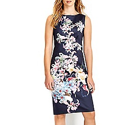 Wallis - Navy sateen floral printed dress
