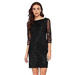 Wallis - Black embroidered mesh shift dress