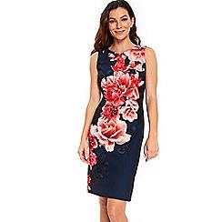 Wallis - Navy floral scuba shift dress