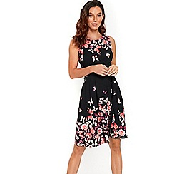 Wallis - Black butterfly print fit and flare dress