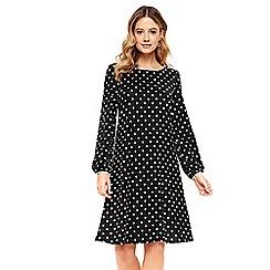 Wallis - Black spotty swing dress