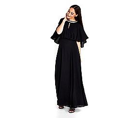 Wallis - Black embellished neck cape maxi dress