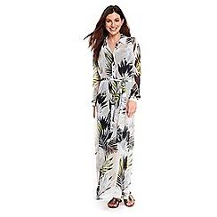 Wallis - Cream leaf print maxi shirt dress