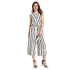 Wallis - Ivory stripe wrap jumpsuit