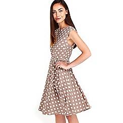 Wallis - Taupe polkadot fit & flare dress