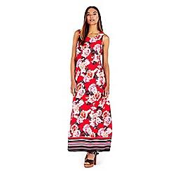 Wallis - Red floral stripe maxi dress