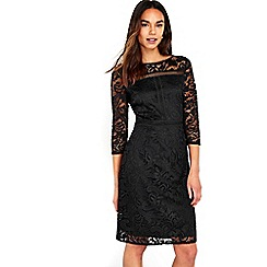 Wallis - Black panelled lace shift dress