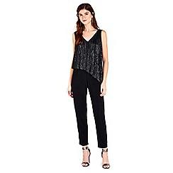 Wallis - Black shimmer overlay jumpsuit