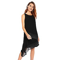 Wallis - Black asymmetric embellished over layer dress