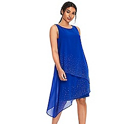 Wallis - Cobalt asymmetric embellished over layer dress
