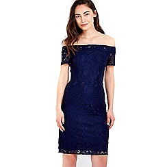 Wallis - Navy lace bardot dress
