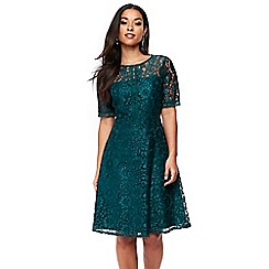 Wallis - Teal lace fit and flare dress