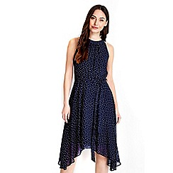 Wallis - Navy ditsy polka dot dress