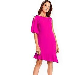 Wallis - Pink peplum asymmetric shift dress