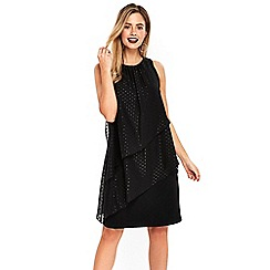 Wallis - Black spotted metallic overlay dress