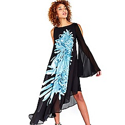 Wallis - Black floral asymmetric dress
