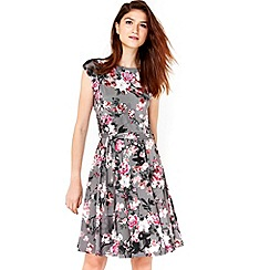 Wallis - Grey floral blossom fit and flare dress